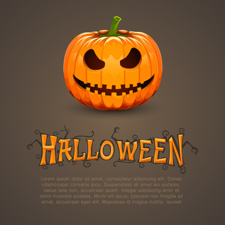 haunting: Pumpkin for Halloween with text. Vector background