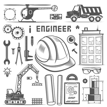 engineers: Icons Engineer drawing style art. Vector illustration