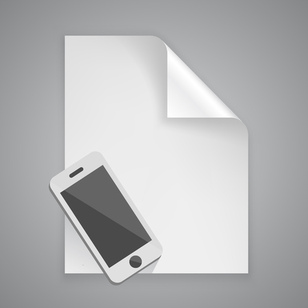 phone symbol: Paper symbol phone art icon. Vector illustration