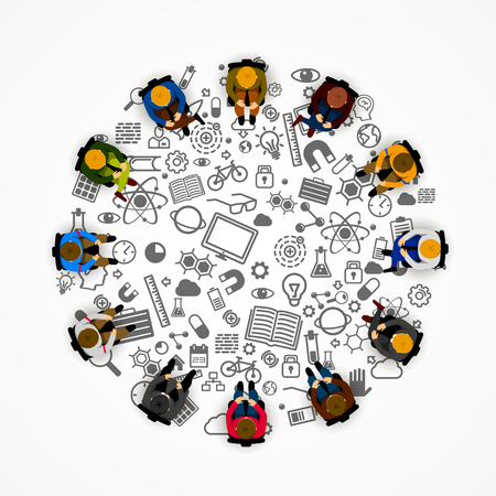 round chairs: People sitting in a circle. Vector illustration