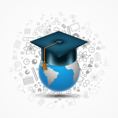 web cap: World hat graduate art sign. Vector illustration Illustration