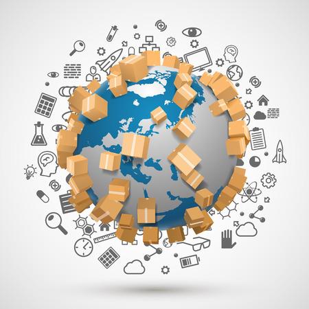 global logistics: Sending worldwide object, icon set. Vector illustration