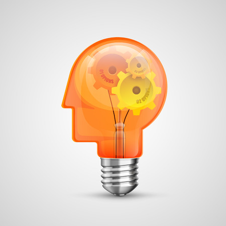 energysaving: Lamp head concept creative idea. Vector Illustration