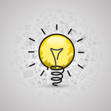 environment drawing: Drawing lamp art sign icon. Vector illustration