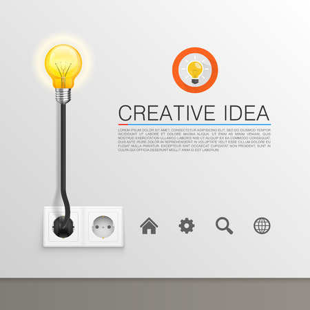 Lamp plugged in art banner. Vector illustration Иллюстрация