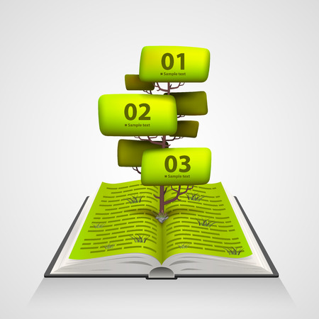 numbering: Open book with a tree numbering. Vector illustration Illustration