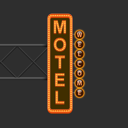 motel: Street sign of the motel. Vector illustration