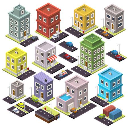 estructura: Conjunto de casa y la carretera con los coches isométrica. Ilustración vectorial Vectores