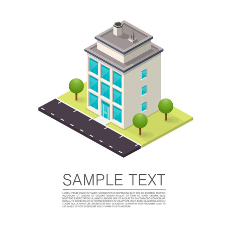 architectural elements: Isometric Road House art sign. Vector illustration