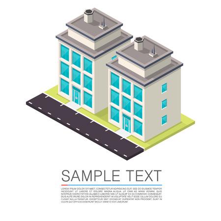 office windows: Isometric Road House art sign. Vector illustration
