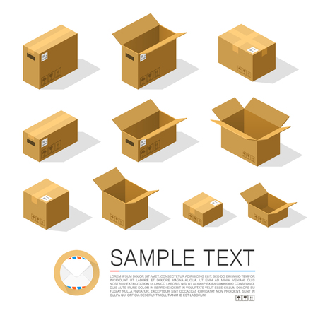 corrugated box: Set of boxes to send isometric. Vector Illustration