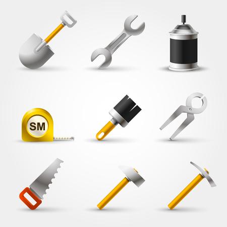 symboll: Set builder tool art icon. Vector Illustration