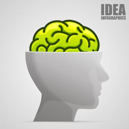 brain illustration: Brain in head art sign. Vector illustration Illustration