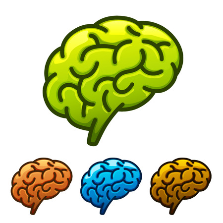 energysaving: Silhouette of the brain green on a white background. Vector illustration Illustration