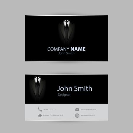 visit: Black tuxedo business card. Clean vector illustration