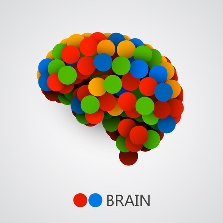 emotional: Abstract creative concept of brain made with circles. Brain icon. Brain icon vector. Brain vector. Brain colorful. Brain icon app. Brain icon image. Vector illustration