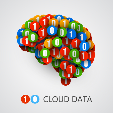number icon: Abstract creative concept of digital or computer brain. Vector illustration