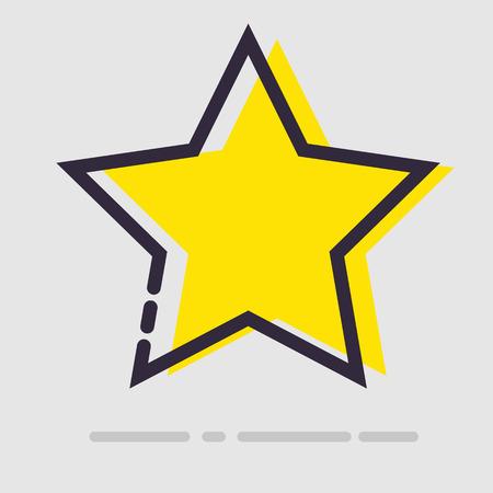 yellow star: Abstract flat yellow star icon. Vector illustration