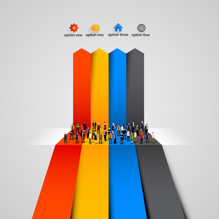 phonographic: People crowd on the graph. Clean vector illustration Illustration