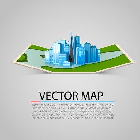new york map: Paper map sign with modern city. Vector illustration