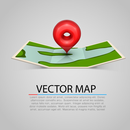land mark: Paper map sign with red mark. Vector illustration Illustration
