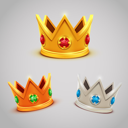 king and queen: Set of gold silver bronze crowns with jewels. Vector illustration Illustration