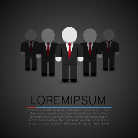 real leader: The Real Leader - Business Man in crowd. Leader art. Leader flat people. Vector illustration