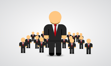 real people: The Real Leader - Business Man in crowd. Leader art. Leader flat people. Vector illustration