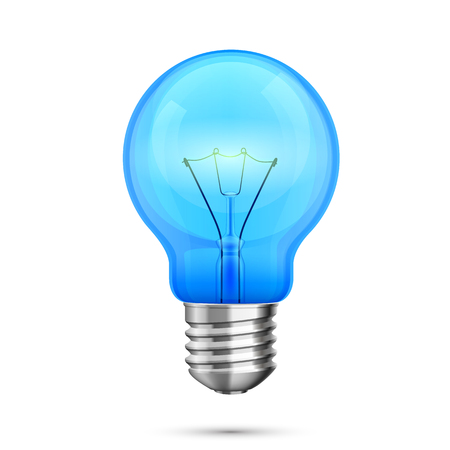 metal light bulb icon: Lamp idea icon, object blue light on a white background