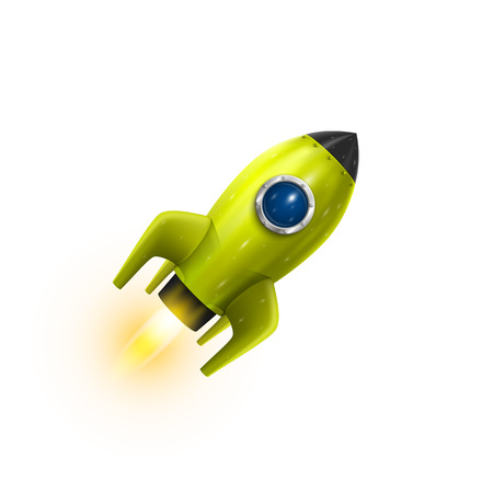 ships: Rocket red icon 3d, Realistic Green object on a white background