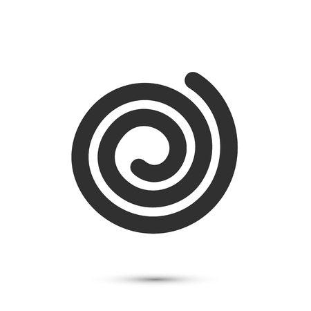 Spiral icon flat black, Sign on a white background, Vector illustration  イラスト・ベクター素材