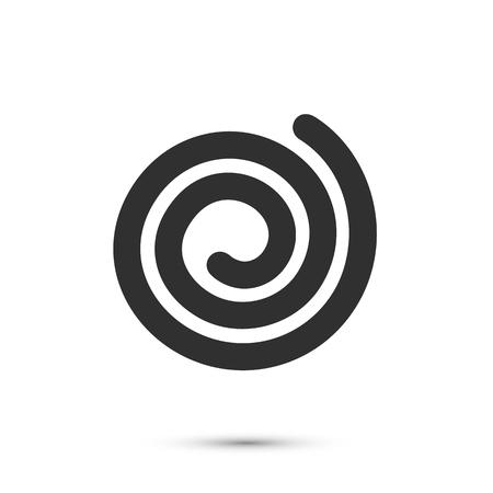 Spiralna ikonę płaskim czarny znak na białym tle, ilustracji wektorowych