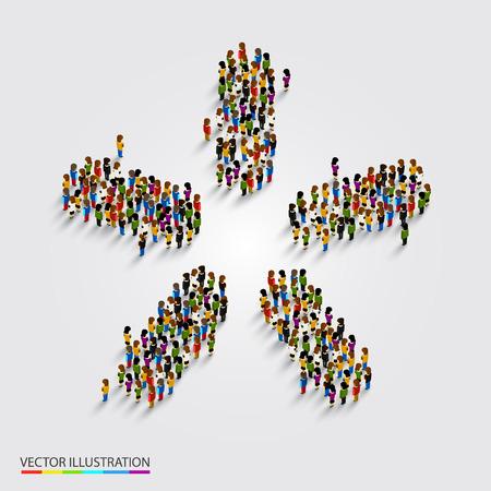 personas reunidas: Gran grupo de personas en la moderna forma de estrella. ilustración vectorial Vectores