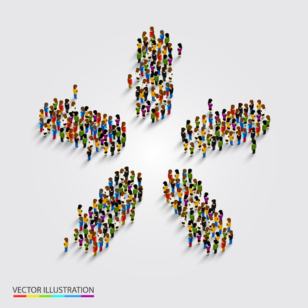 Large group of people in modern star shape. Vector illustration Illustration