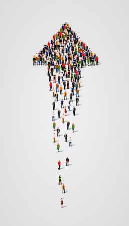 up marker: Large group of people in the form of arrow. Vector illustration