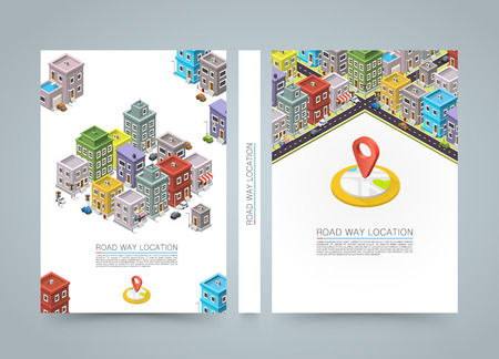 city location: Road in the city Isometric banner, City location black book, A4 size, Vector background Illustration