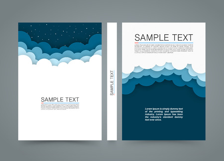 bock: Cloud background bock, Night sky cover, A4 size paper, Vector illustration Illustration