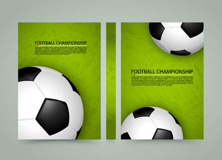 menu land: Soccer ball on the field banner, Sport cover background, A4 size paper