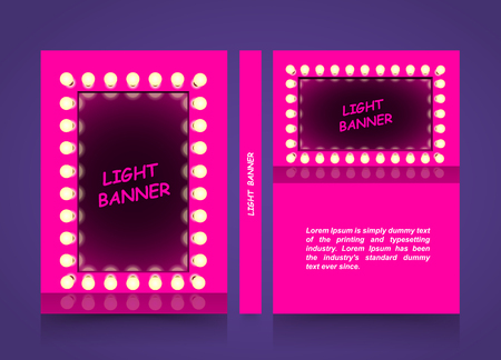 Pink mirror with lamps, Light fashion banner, Retro looking presentation design element square frame glowing with lamps, A4 size paper, Vector illustration