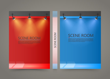 lighted: Color Room with a light source banner, Lighted Stage cover, A4 size paper, Vector illustration