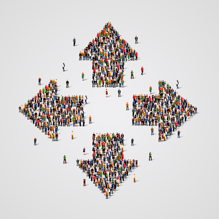 divergent: Large group of people in the form of arrows. Vector illustration. Illustration