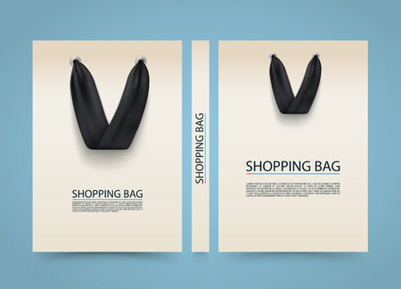 size: Paper bag cover, Shopping Bag advertising banner, A4 size book, Vector illustration Illustration