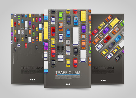 page views: Modern transport vertical banners. Road flyer set. Traffic jam infographics. Vector illustration