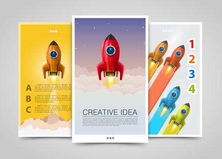 bussiness card: Modern vertical banners, Creative idea, 3d leader up, Rocket flyer set, cover infographics. Vector illustration