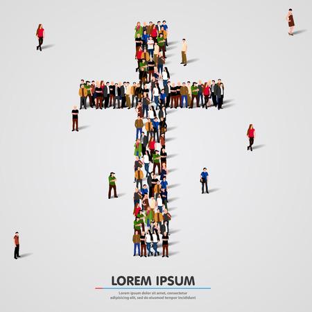 Große Gruppe von Menschen in der Form des Kreuzes. Vektor-Illustration