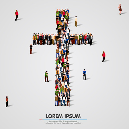 christianity: Large group of people in the shape of cross. Vector illustration