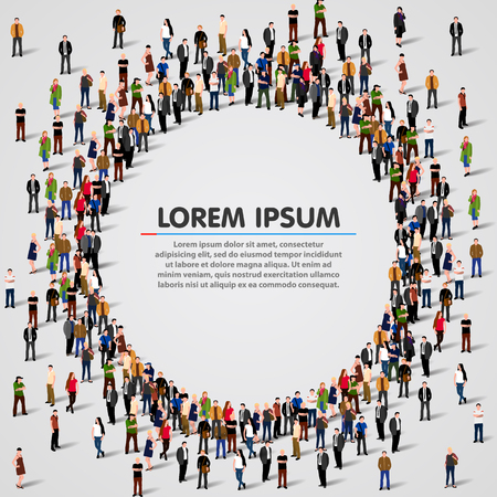Grote groep mensen in de vorm van cirkel. vector illustratie