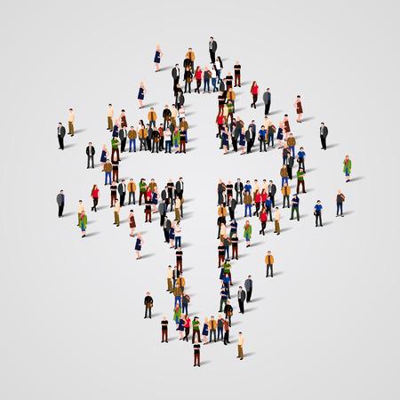 religion catolica: Gran grupo de personas en forma de cruz. ilustración vectorial