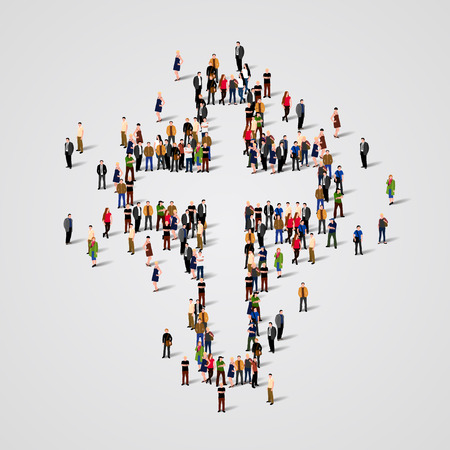 Large group of people in the shape of cross. Vector illustration Banco de Imagens - 57806818