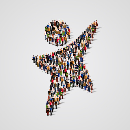 large: Large group of people in the shape of happy man. Vector illustration